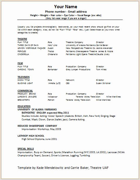 Beginner Acting Resume Template Unique Document Templates Acting Resume format