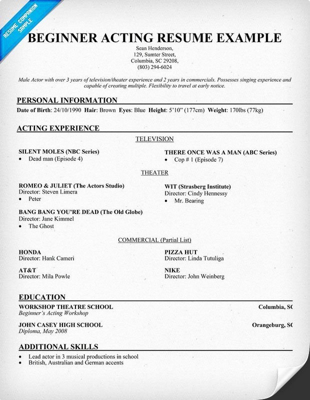 Beginner Actor Resume Template Beautiful Beginner Acting Resume Example Jobresumesample