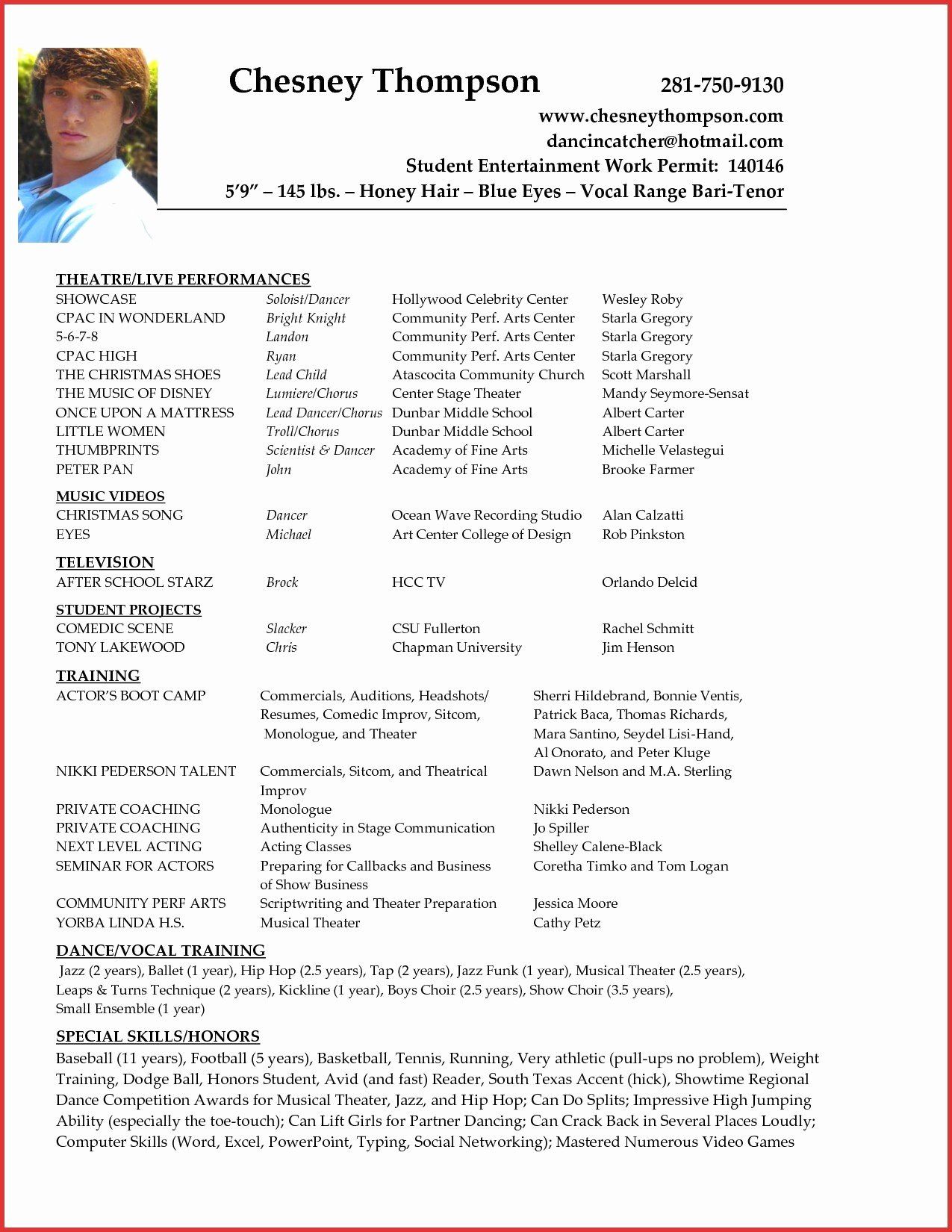 Beginner Actor Resume Template Best Of Acting Resume for Beginners Letter Sample Cv No Experience