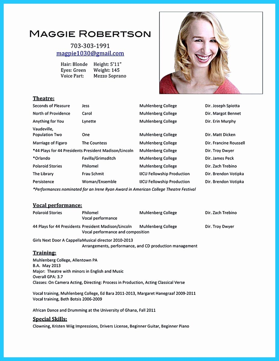 Beginner Actor Resume Template Best Of Outstanding Acting Resume Sample to Get Job soon