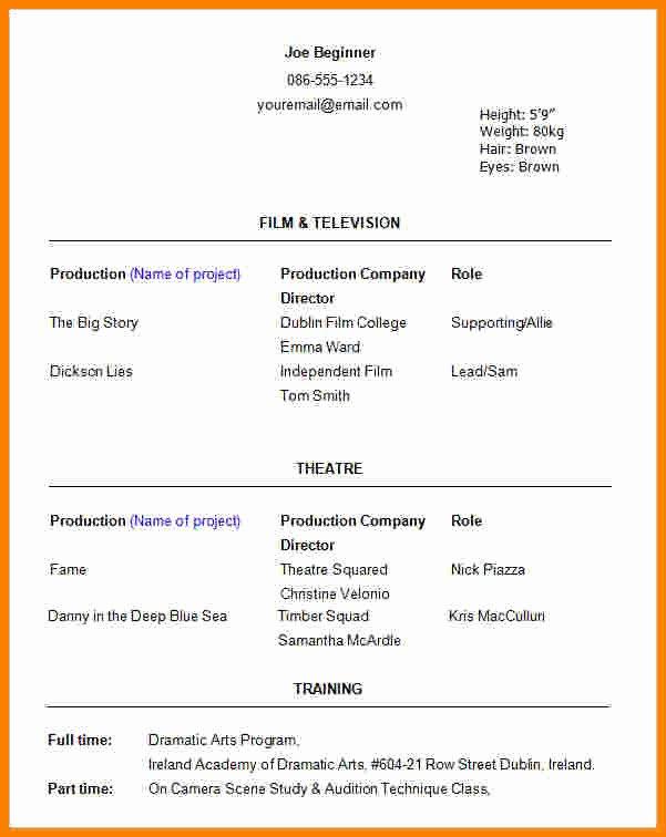 Beginner Actor Resume Template Fresh 6 Beginner Acting Resume Template