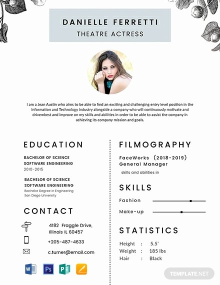 Beginner Actor Resume Template Luxury 243 Free Resume Templates Word Psd Indesign