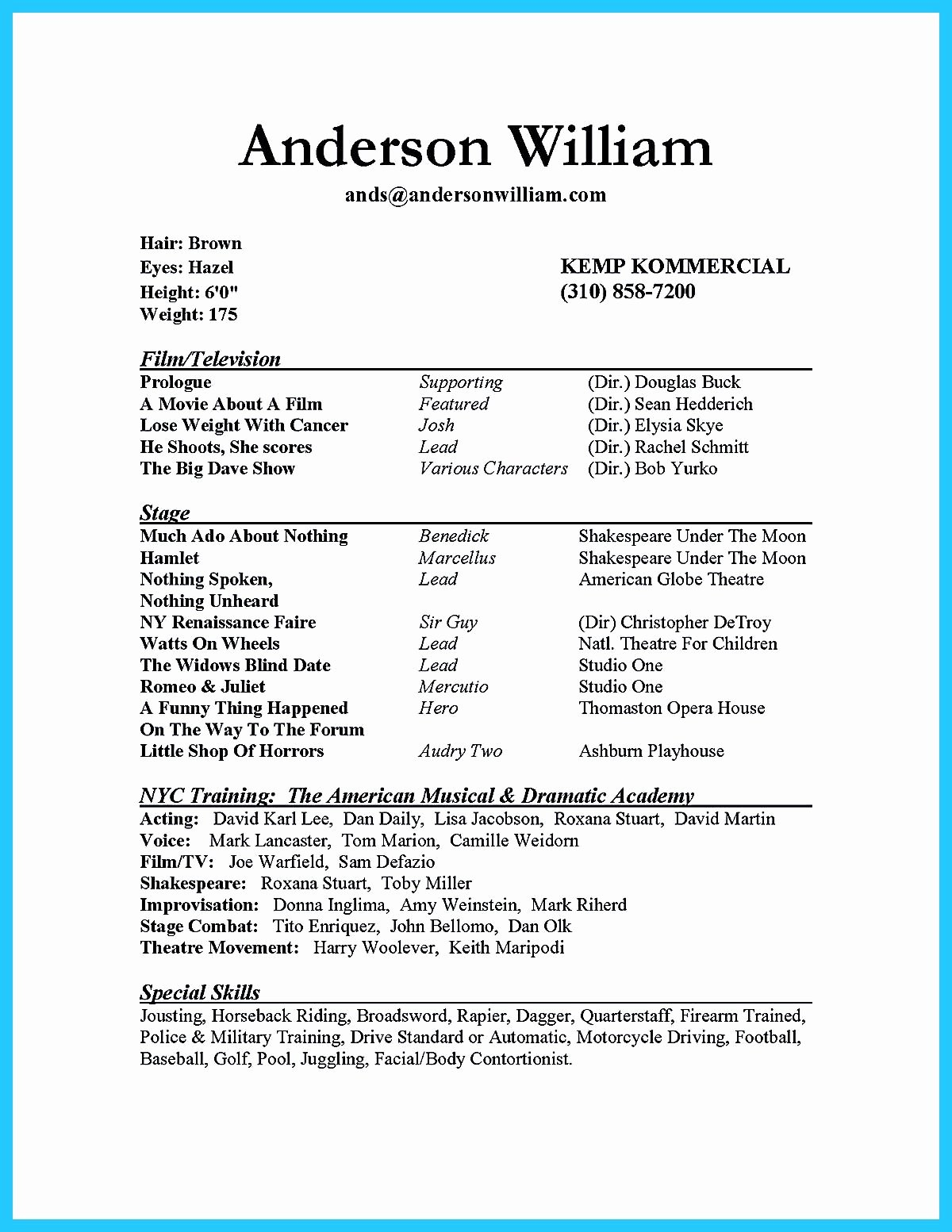 Beginner Actor Resume Template Luxury Actor Resume Sample Presents How You Will Make Your