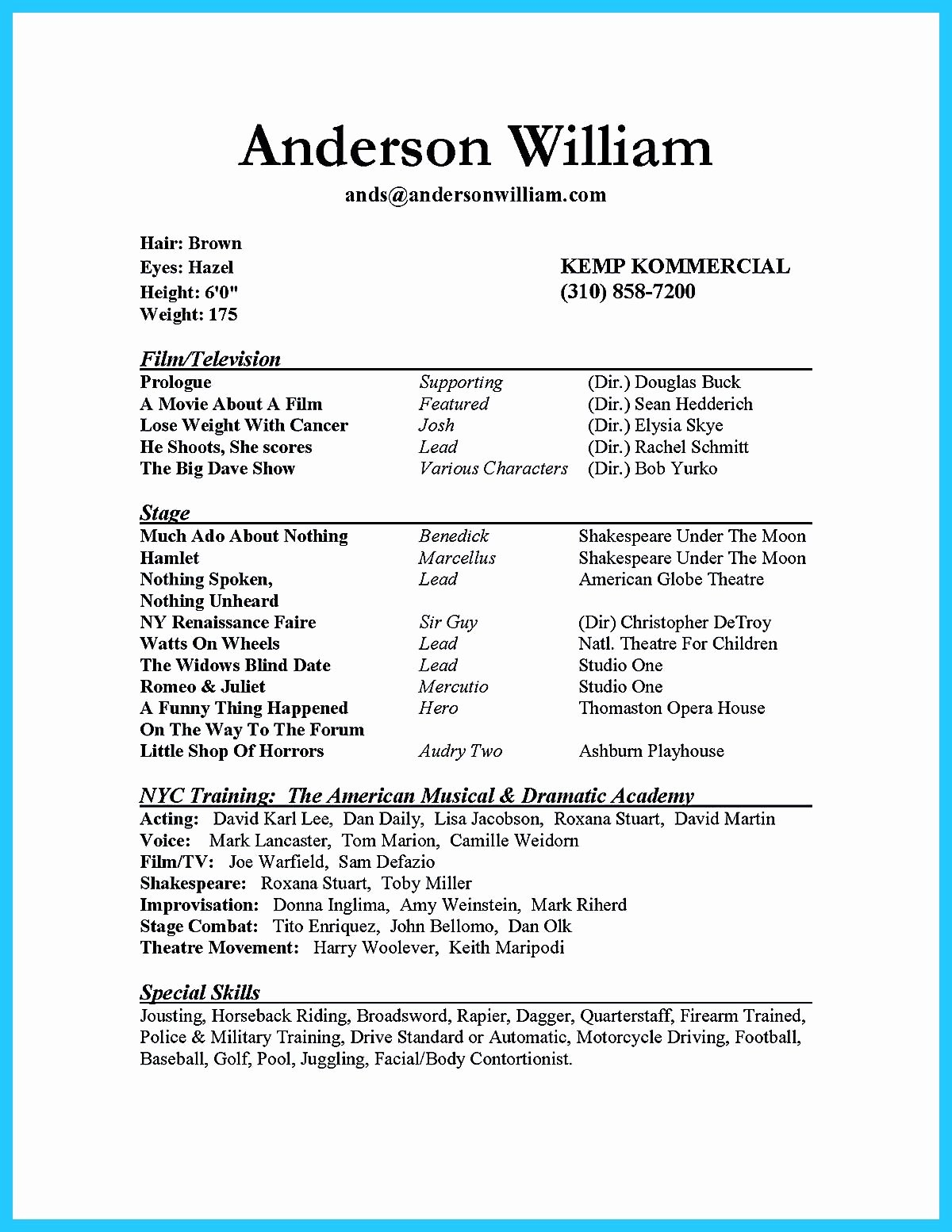 Beginner Actor Resume Template New Actor Resume Sample Presents How You Will Make Your