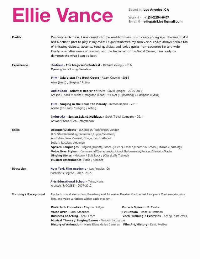 Beginner Actor Resume Template New Beginner Voice Over Resume