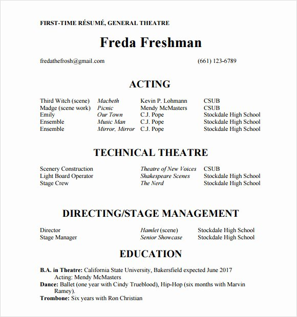 Beginner Actor Resume Template New Free 18 Useful Sample Acting Resume Templates In Pdf