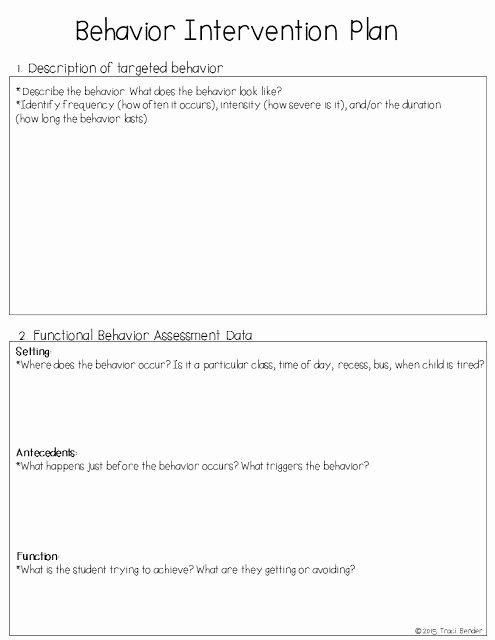 Behavior Intervention Plan Template Free Best Of the Bender Bunch Creating A Behavior Intervention Plan Bip