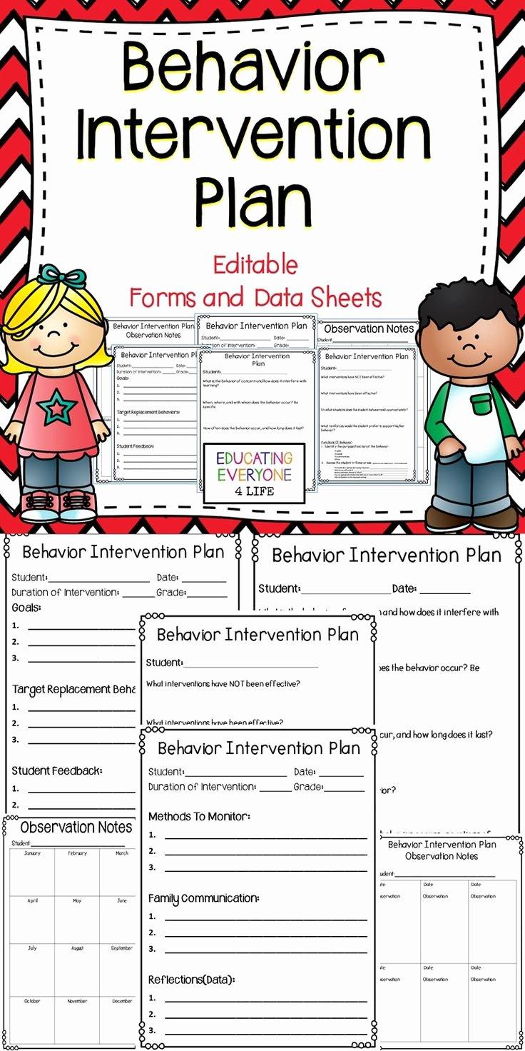 Behavior Intervention Plan Template Free Elegant Behavior Intervention Plan Editable forms and Data Sheets