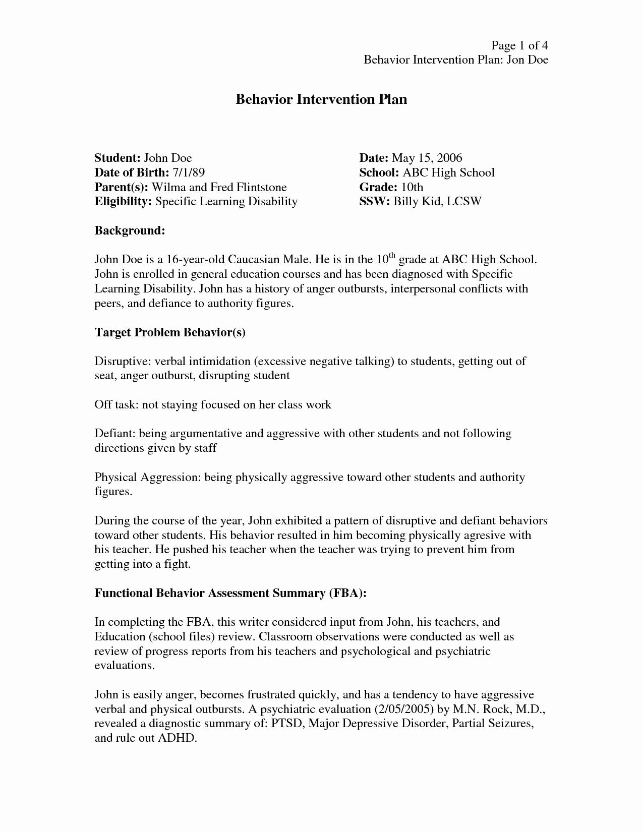 Behavior Intervention Plan Template Free Fresh Behavior Intervention Plan Template
