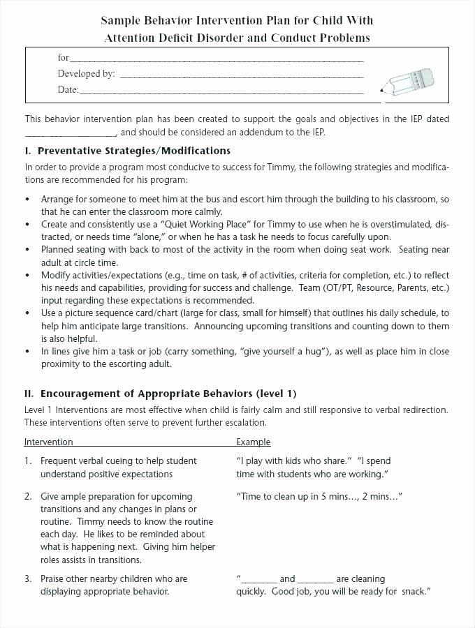 Behavior Intervention Plan Template Free Luxury Behavior Plan Template for Elementary