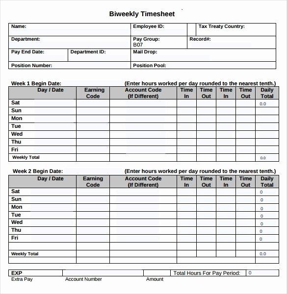 Bi Weekly Timesheet Template Beautiful 22 Employee Timesheet Templates – Free Sample Example