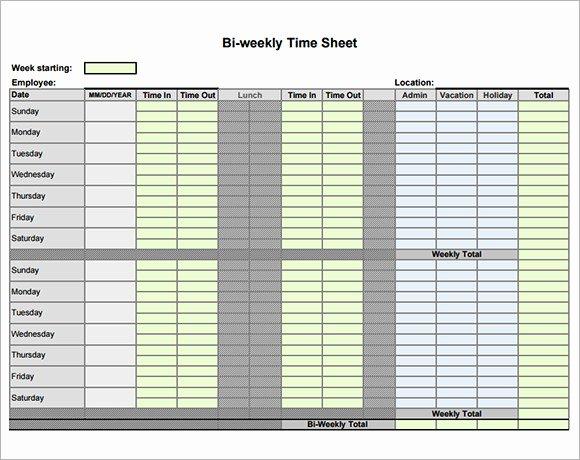 Bi Weekly Timesheet Template Fresh Biweekly Timesheet Template 9 Free Samples Examples