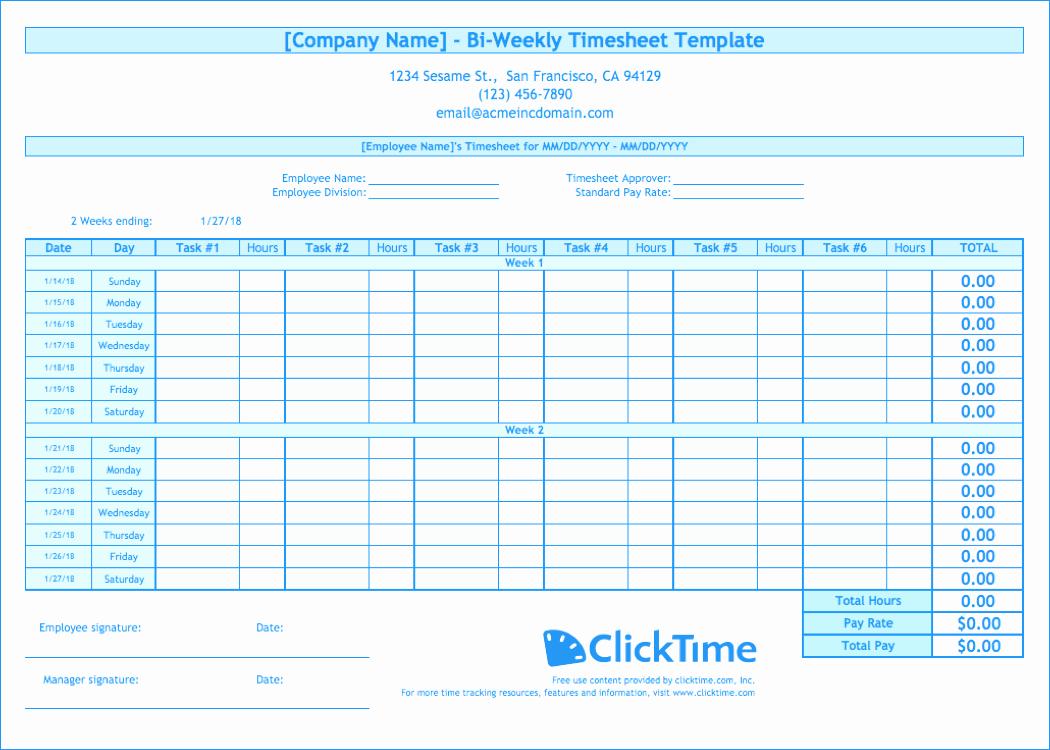 Bi Weekly Timesheet Template Inspirational Biweekly Timesheet Template Free Excel Templates