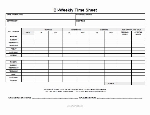 Bi Weekly Timesheet Template Lovely Biweekly Time Sheet Free Printable Allfreeprintable
