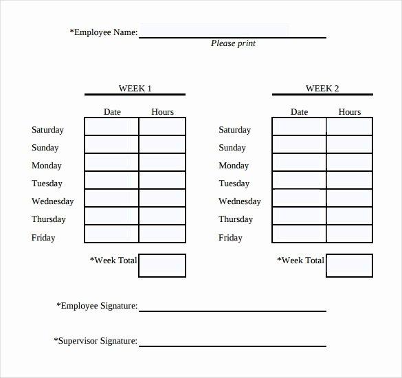 Bi Weekly Timesheet Template Lovely Simple Weekly Timesheet