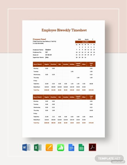 Bi Weekly Timesheet Template Luxury Employee Bi Weekly Timesheet Template Download 0 Sheets