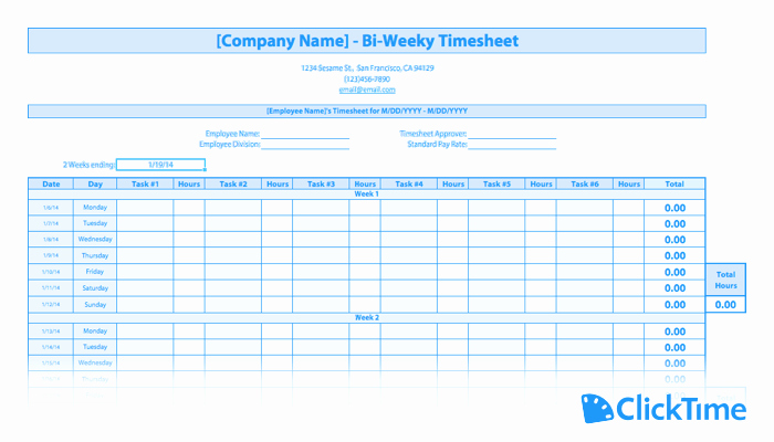 Bi Weekly Timesheet Template Unique Free Timesheet Template Printable Timesheets