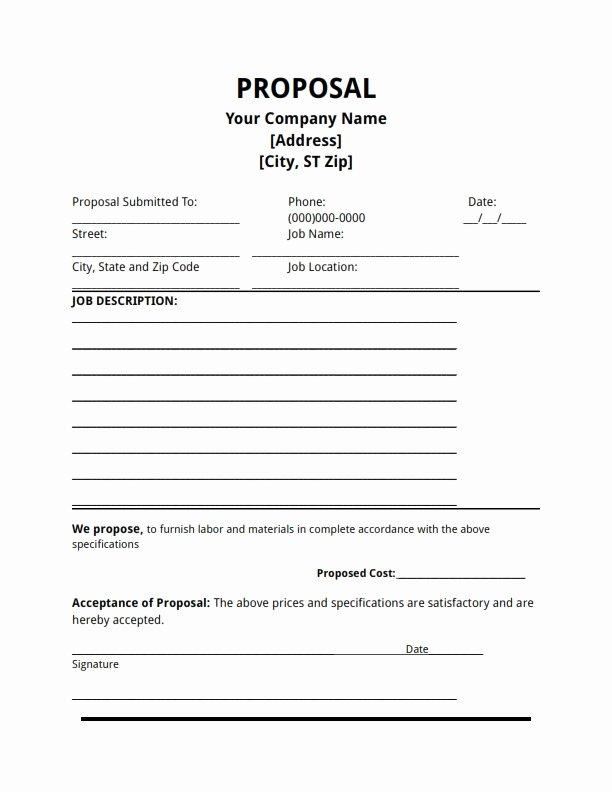 Bid Proposal Template Excel Beautiful Job Proposal Template