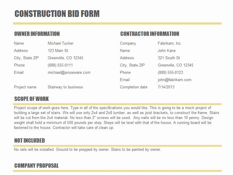 Bid Proposal Template Excel Inspirational Bid Quote Template Quote Template