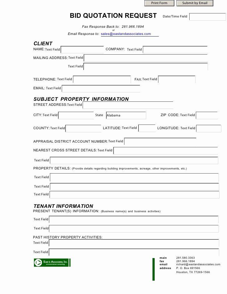 Bid Proposal Template Excel Luxury Bid Quotation form