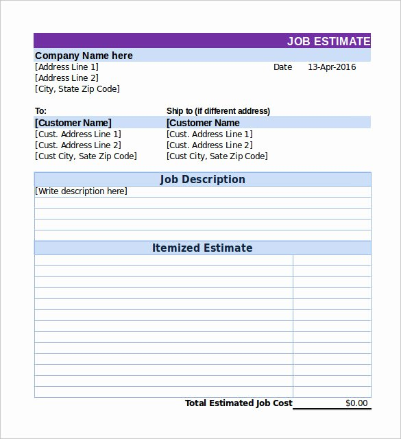 Bid Proposal Template Excel New 26 Blank Estimate Templates Pdf Doc Excel Odt