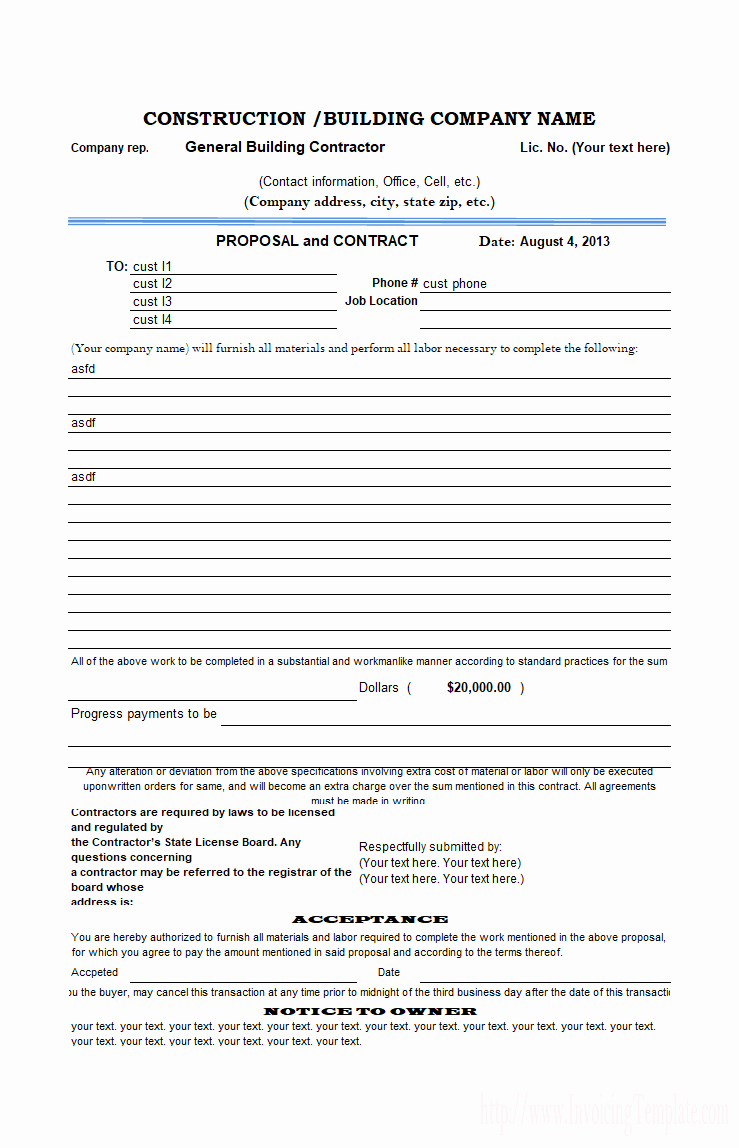 Bid Proposal Template Excel New Construction Proposal Template