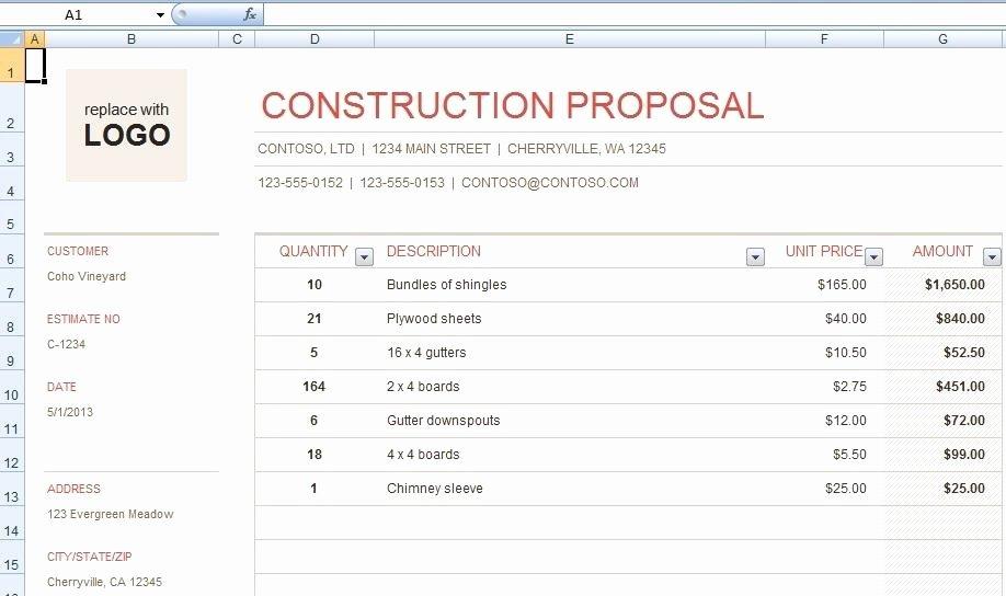 Bid Proposal Template Excel Unique Construction Bid Template Archives