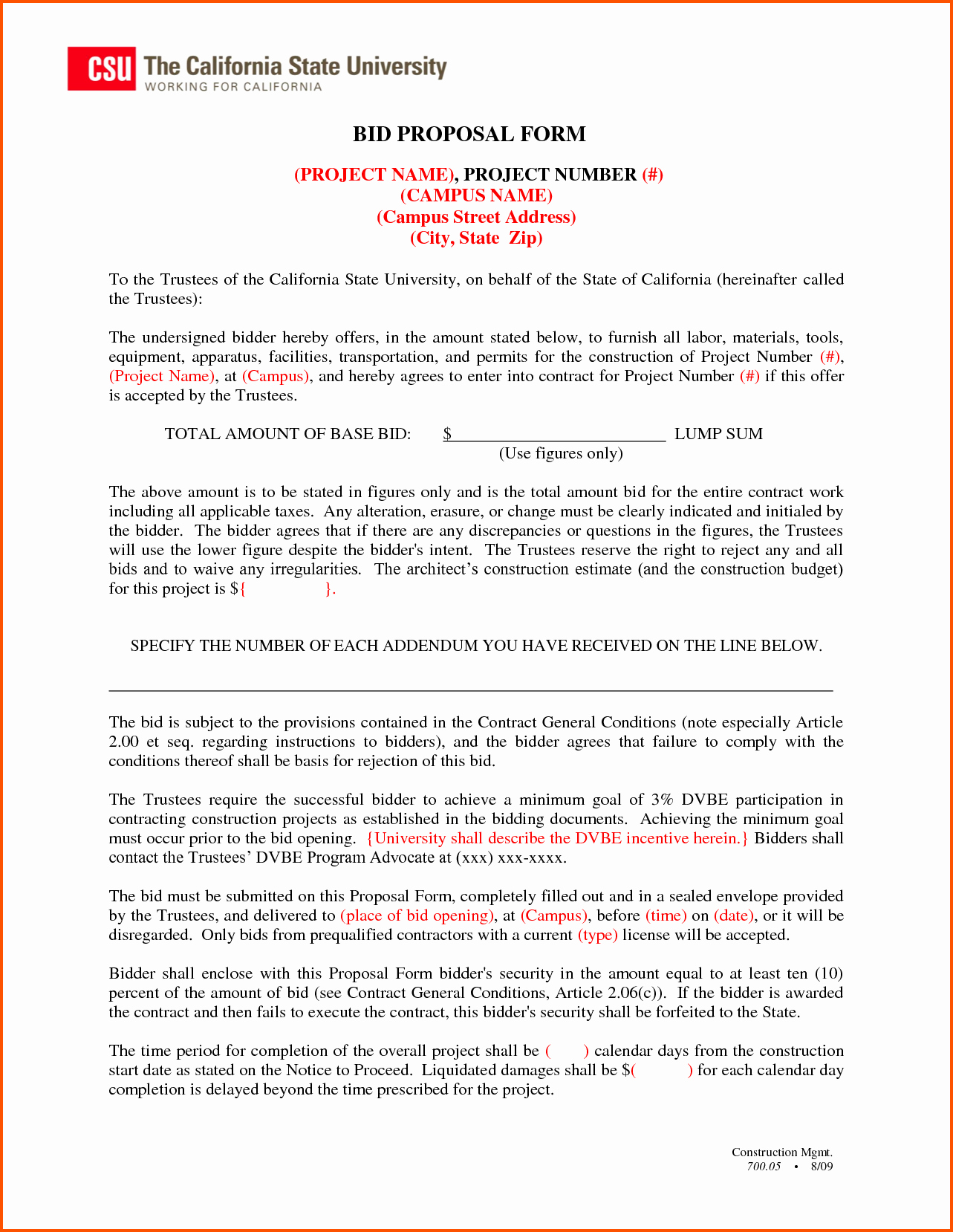 Bid Proposal Template Word Best Of Construction Proposal Template