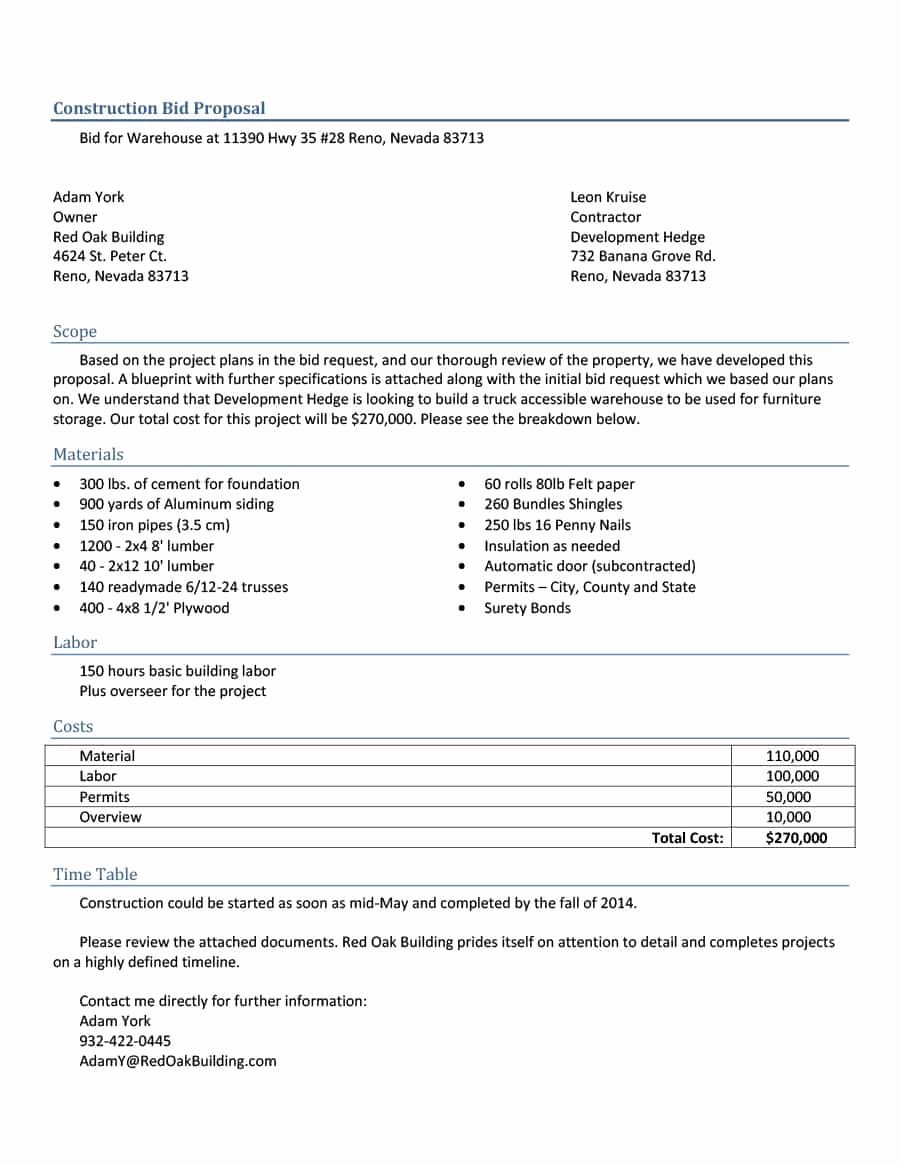 Bid Proposal Template Word Lovely 31 Construction Proposal Template & Construction Bid forms