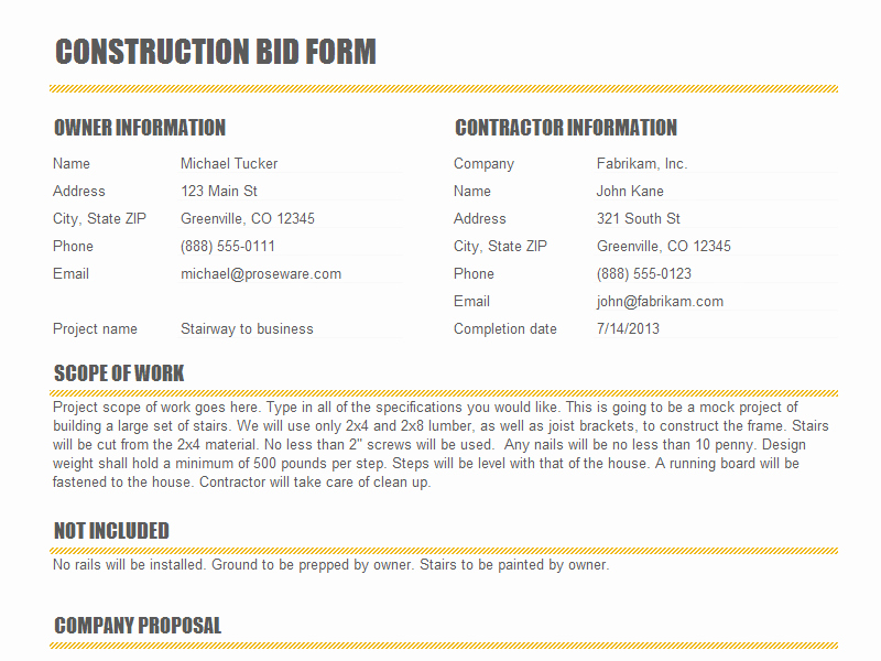 Bid Proposal Template Word New Bid Quote Template Quote Template