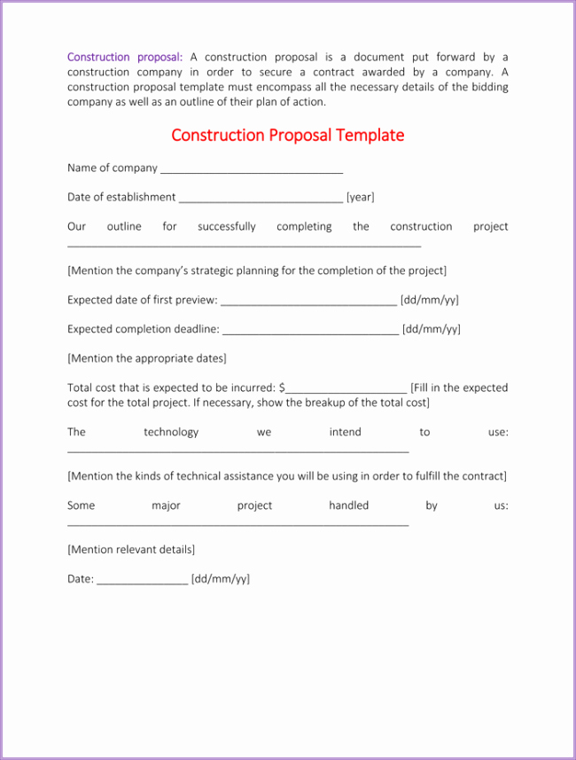 Bid Proposal Template Word New Construction Proposal Template 4 Best Sample