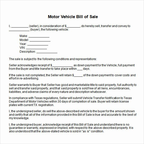 Bill Of Sale Word Template Fresh Vehicle Bill Of Sale Template Fillable Pdf