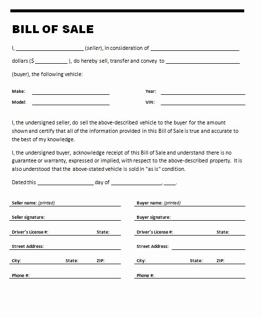 Bill Of Sale Word Template Lovely Car Bill Sale Template