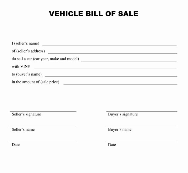 Bill Of Sale Word Template New Vehicle Bill Sale Template