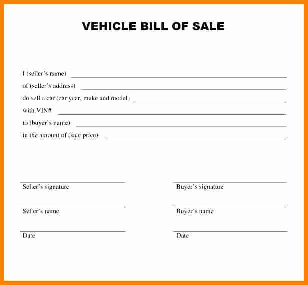 Bill Of Sale Word Template Unique 8 Vehicle Bill Of Sale Template Word