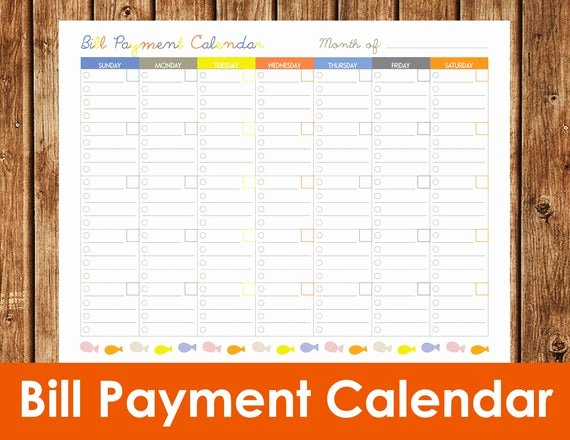 Bill Pay Calendar Template Beautiful Items Similar to Bill Payment Calendar Instant Download