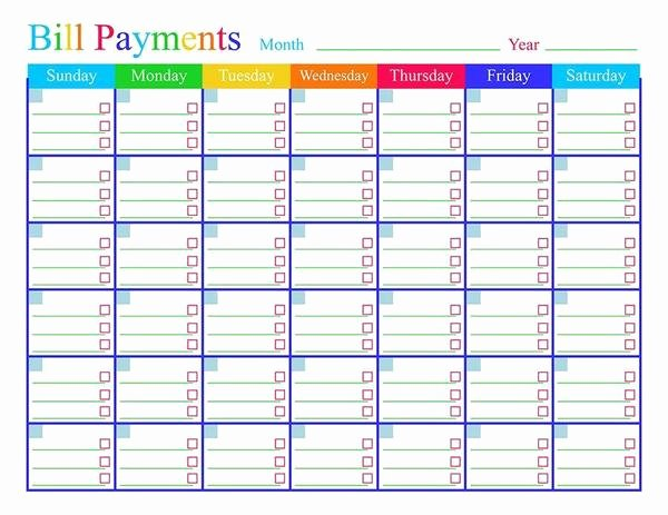 Bill Pay Calendar Template Luxury Bill Payments Calendar Printable