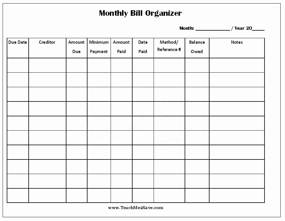 Bill Pay Calendar Template New Free Printable Monthly Bill organizer