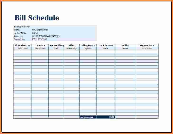 Bill Pay Schedule Template Awesome 7 Bill Payment Spreadsheet Excel Templates