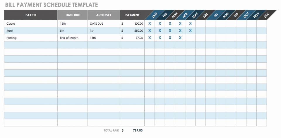 Bill Pay Schedule Template Inspirational 12 Free Payment Templates