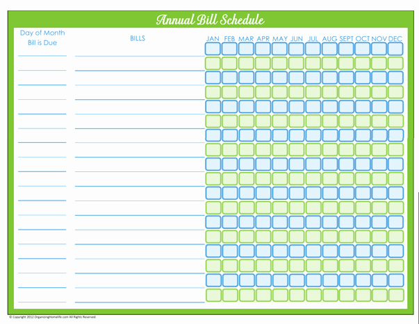 Bill Pay Schedule Template Lovely Bill Payment Schedule Editable Version organizing Homelife