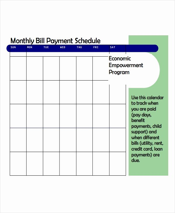 bill payment schedule template sample
