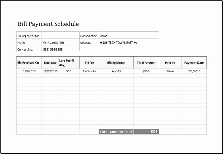 Bill Pay Schedule Template New Bill Payment Schedule Template at Emplates