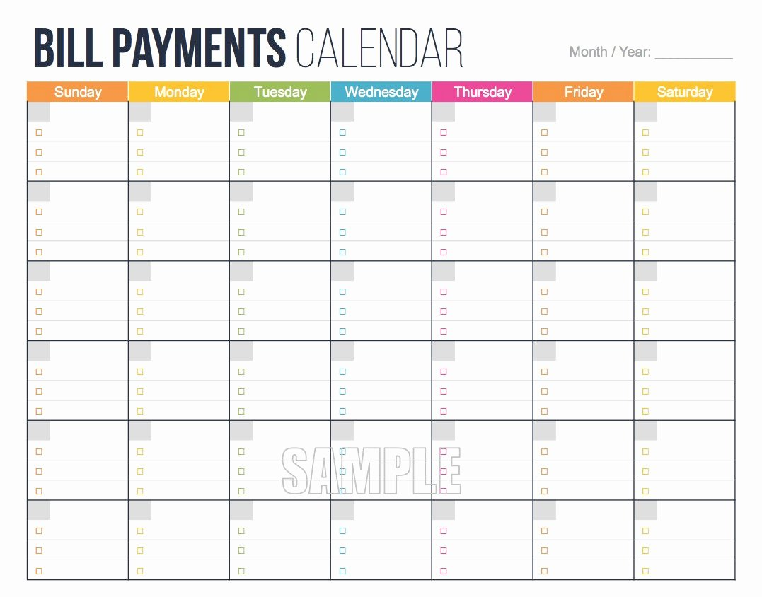 Bill Pay Schedule Template Unique Bill Payments Calendar Editable Personal Finance
