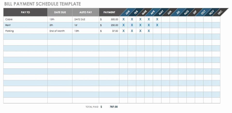Bill Paying Calendar Template Beautiful 12 Free Payment Templates