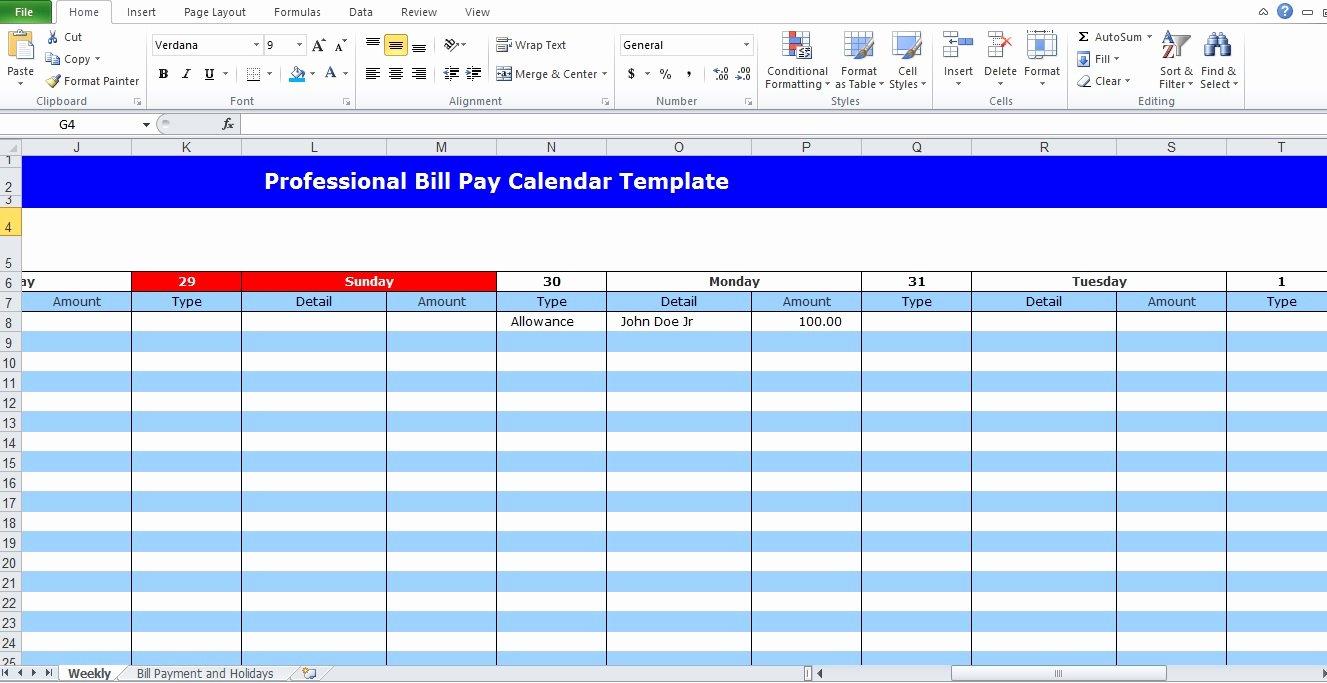 Bill Paying Calendar Template Best Of Professional Bill Pay Calendar Template Excel Tmp