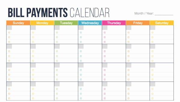 Bill Paying Calendar Template Inspirational Bill Pay Template