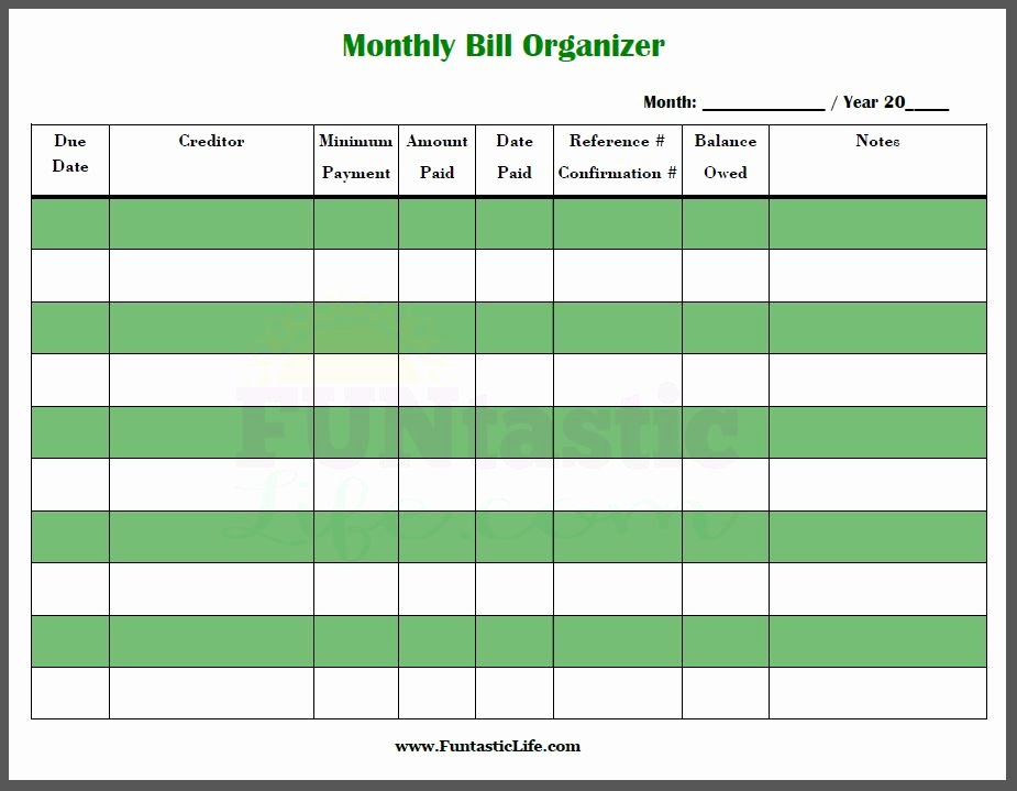 Bill Payment Calendar Template Awesome Free Printable Monthly Bill organizer Funtastic Life