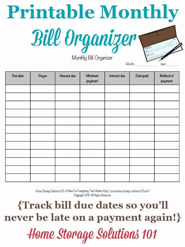Bill Payment Calendar Template Elegant Printable Monthly Bill organizer to Make Sure You Pay