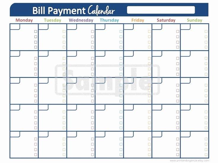 Bill Payment Calendar Template Lovely Best S Of Printable Monthly Bill Calendar Printable